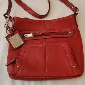 Tignanello Red Leather Crossbody Bag